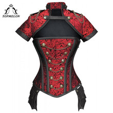 Topmelon Steampunk Corset Gothic Staal Uitgebeend Flora Punk Bustiers Vrouwen Cut Out Chains Knoppen Corselet Korte Mouw Bustier Tops