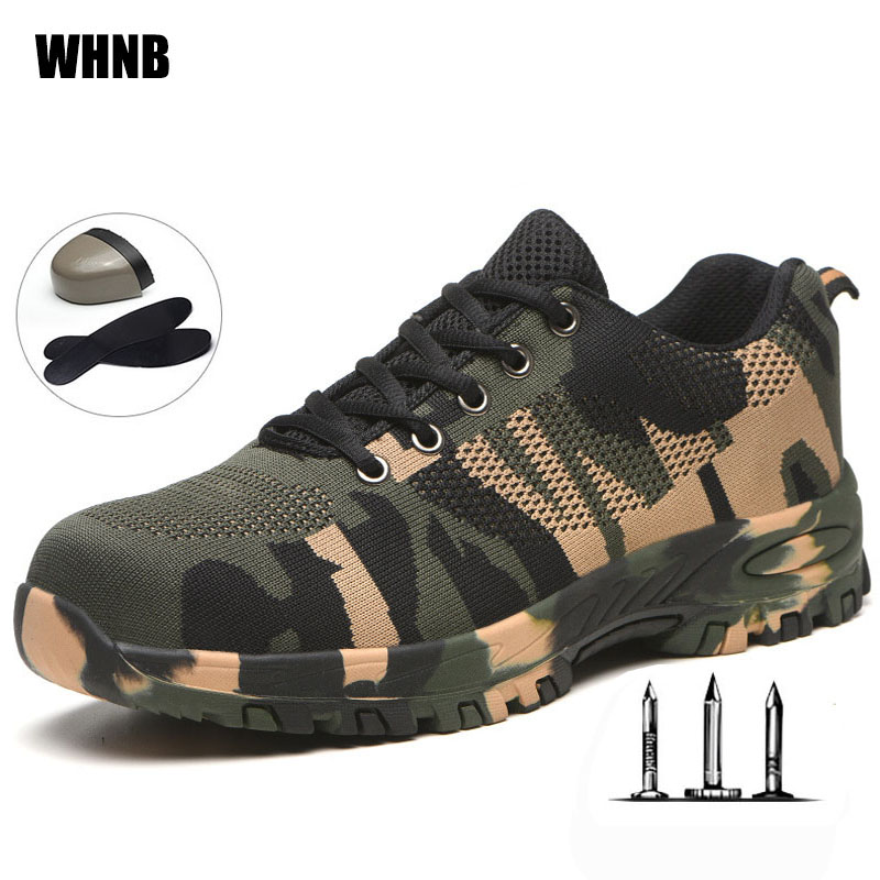 Camouflage Labor Insurance Shoes Men Breathable Steel Head Anti-piercing Safety Shoes Women Non-slip Wear-resistant Work Shoes