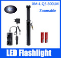 CREE Q5 800LM LED Flashlight Waterproof Portable Flash Light Torch Penlight Tactical Hunting Lamps+2*18650+Charger+Car Chager