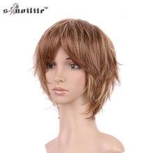 Snoilite леди парик синтетические Короткие вьющиеся целую голову Искусственные парики для черный Для женщин термостойкие Волокна партии Косплэй волос