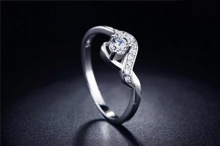 H:HYDE High Quality Wedding Heart Silver Color Rings CZ Stone Jewelry for Women bijouterie Bijoux Accessories engagement bague
