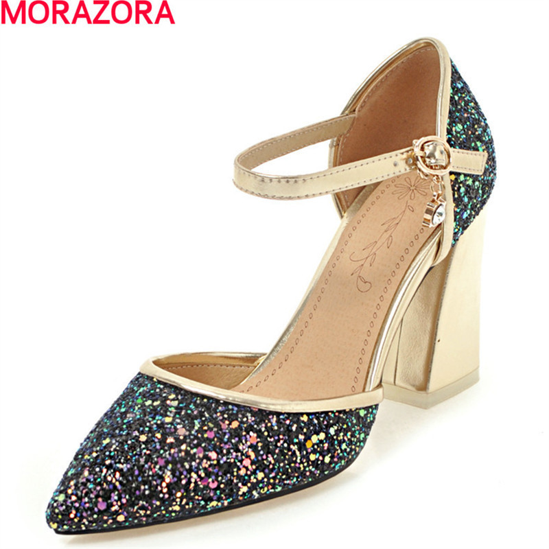 MORAZORA glitter cloth women shoes pumps fashion spring high heels shoes shallow big size 34-46 platform shoes wedding party умница профессии библиотека