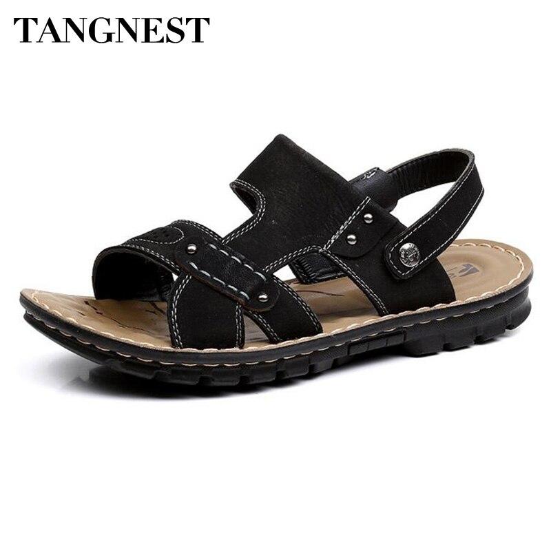 TANGNEST/мужские сандалии новые Лето 2017 г. Для мужчин пляжные шлепанцы простые Дизайн PU кожаные сандалии человек классический Римские сандалии ...