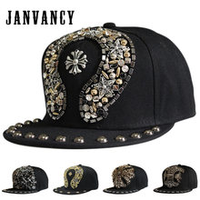 755d326af01bf Janvancy Steampunk Baseball Caps Men Women Luxury Hand-nailed Plastic  Rivets Snapback Black Flat Bone Designer Hip Hop Punk Hats