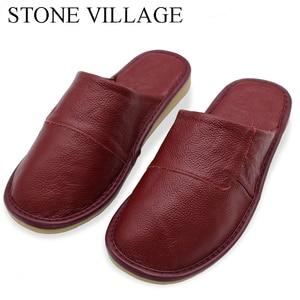 Image 2 - Steen Dorp Plus Size 36 45 Hoge Kwaliteit Echt Leer Thuis Slippers Zomer En Najaar Koele Vrouwen Slippers 6 Kleuren