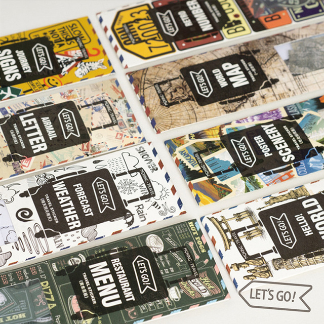 45 Pcs/Bag Vintage st&s licence plate paper sticker package DIY diary decoration sticker planner & 45 Pcs/Bag Vintage stamps licence plate paper sticker package DIY ...