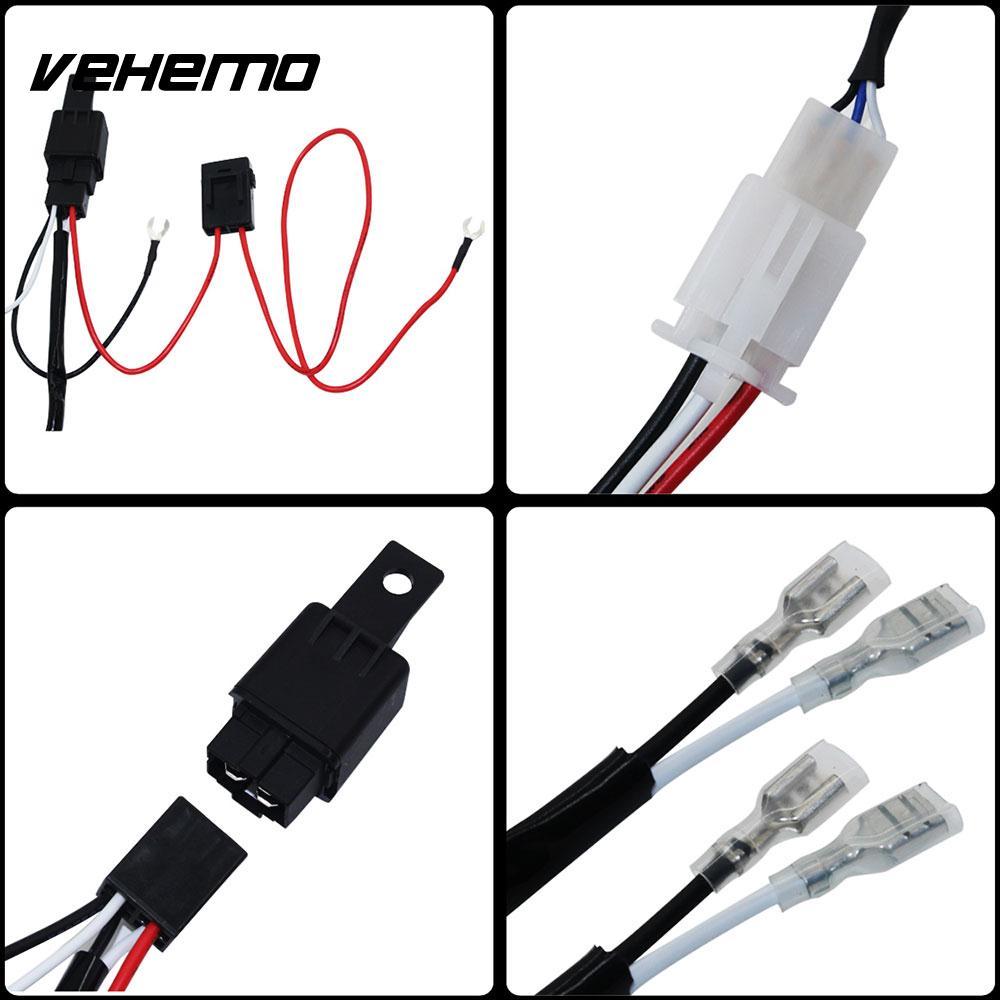 hight resolution of vehemo wiring harness kit line set headlight wiring 9 16v connecting 2 led professional fuse relay fog light