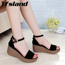 Summer Women Soft Suede Leather Walking Shoes Sponge Wedge Thick Soles Shoes Strap Buckle Beach Outdoor Sandals Zapatos Sneakers