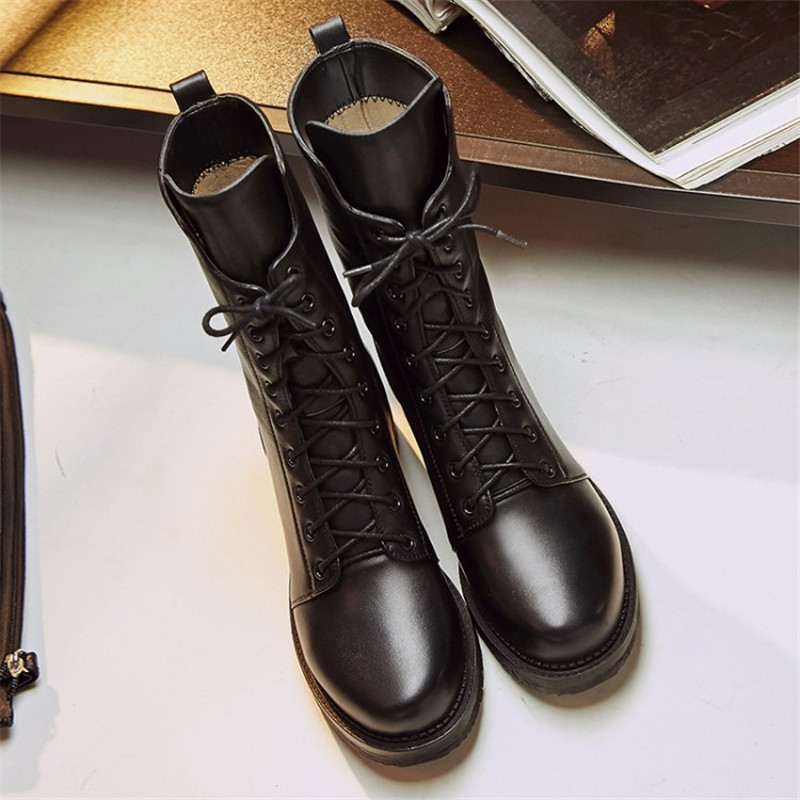 Size 34-43 Autumn winter High quality genuine leather Round Toe Lace-Up thick heel ankle boots Shoes fashion women martin boots mcckle women s lace up rivets buckle ankle martin boots ladies fashion thick heel platform high quality leather autumn shoes