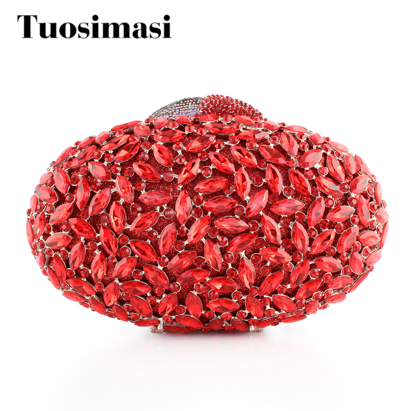 Fashion Round Oval Shape With Crystals Clutch Chain Shoulder Bag Women's Handbag Red Evening Bag Wedding Party Purse(8712A-R2) luxury and exquisite fish shape crystals rhinestone hard case clutch evening party bag wedding handbag