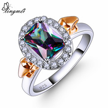 lingmei New Fashion Elegant Design Rectangle Multicolor & Blue White CZ Silver Color Ring Size 6 7 8 9 Wedding Women Jewelry