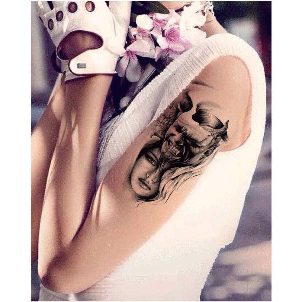 Pattern waterproof arm sleeve body shoulder temporary tattoo sticker - European Style Waterproof Tattoo Sticker Unisex Men Skull Pattern Arm Shoulder Sleeves Temporary Tattoo Body Art In Temporary Tattoos From Beauty Health