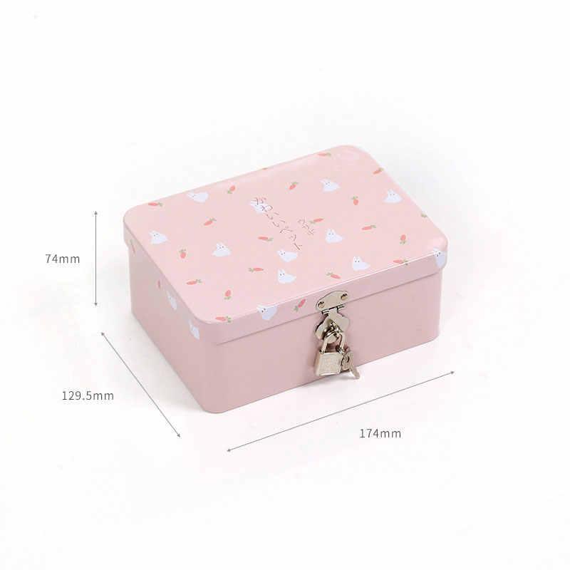 Цветная креативная жестяная коробка с замком для хранения, настольный органайзер для хранения, маленькая коробка для косметики, Подарочная коробка для детей