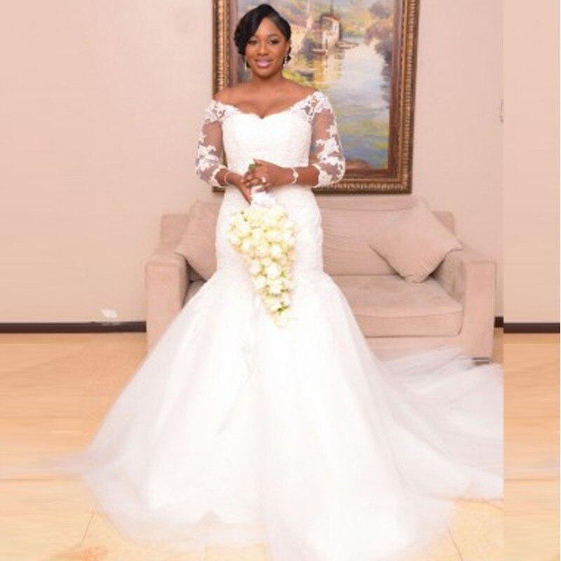 2017 Plus Size Wedding Dresses Lace Tulle Mermaid Wedding Dresses 3