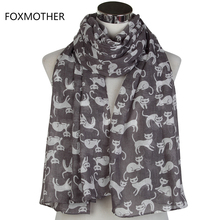 FOXMOTHER New Lightweight Soft Cute Grey Khaki Navy Cat Long Scarf Foulard For Womens Ladies Mother Gifts