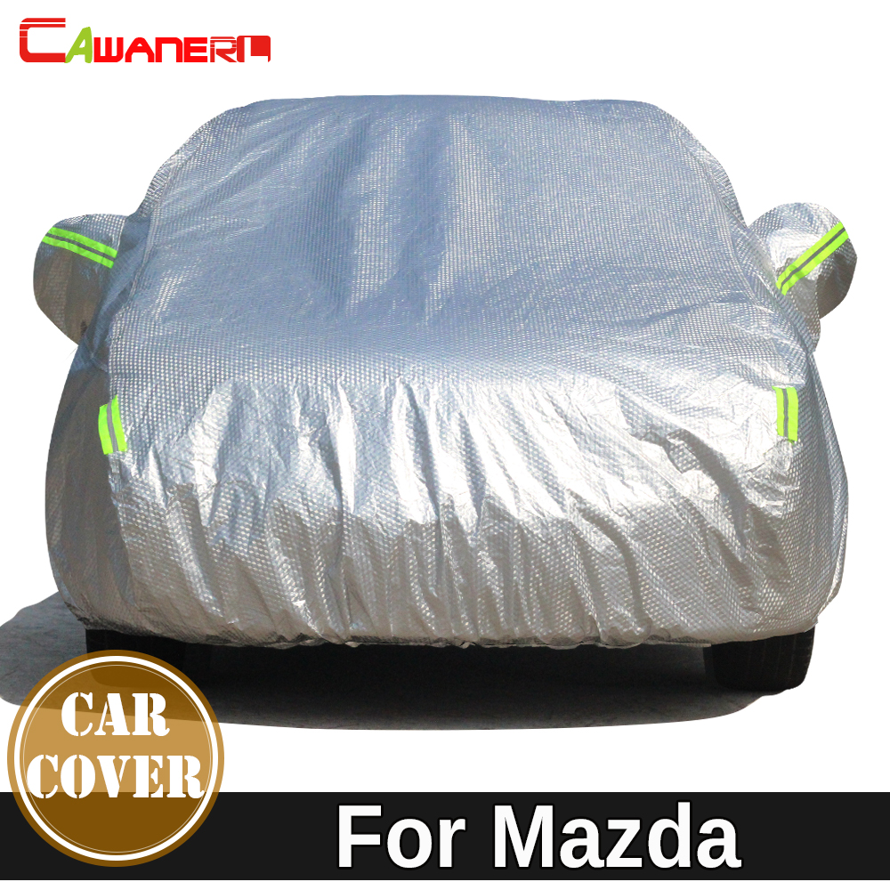 Cawanerl Thicken Cotton Car Cover Anti-UV Outdoor Sun Shield Rain Snow Hail Resistant Cover Waterproof For Mazda 2 3 5 8 323 626 buildreamen2 waterproof car cover sunshade sedan hatchback anti uv sun rain snow hail protective thicken cotton car covers