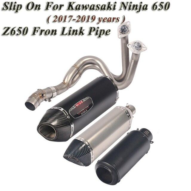 Motorcycle Exhaust Slip On For Kawasaki Ninja 650 ER6N Z650 2017 2018 2019 Modified Full Muffler Front Mid Link Pipe DB Killer