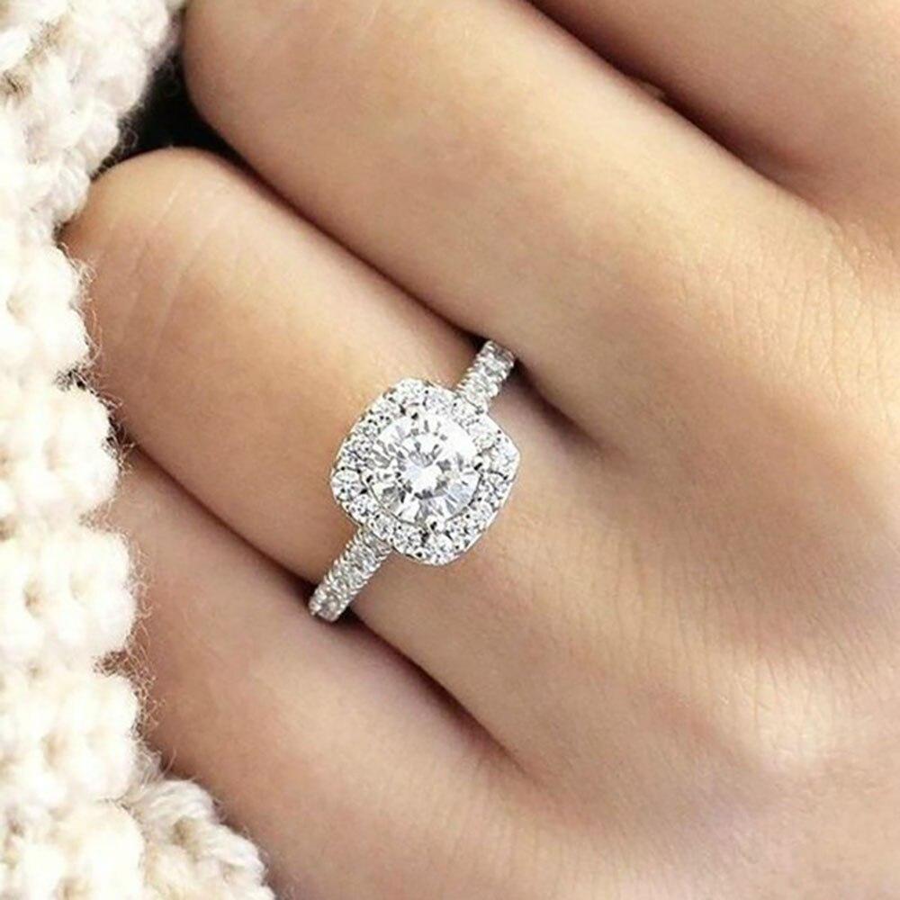 7332caf1f0d4 2019 gran anillo de Zirconia cúbica joyería de la boda de moda mujer anillo  de compromiso mujer anillo de plata cristal fiesta regalo en Anillos de  Joyería ...