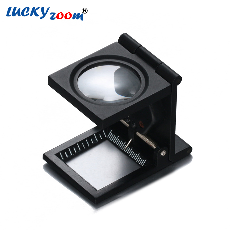 10x Metal Desk 2 LED Magnifier Optical Lens Black Foldable Printing Cloth Magnifying Glass W/ Scale Pointer Loupe Free Shipping