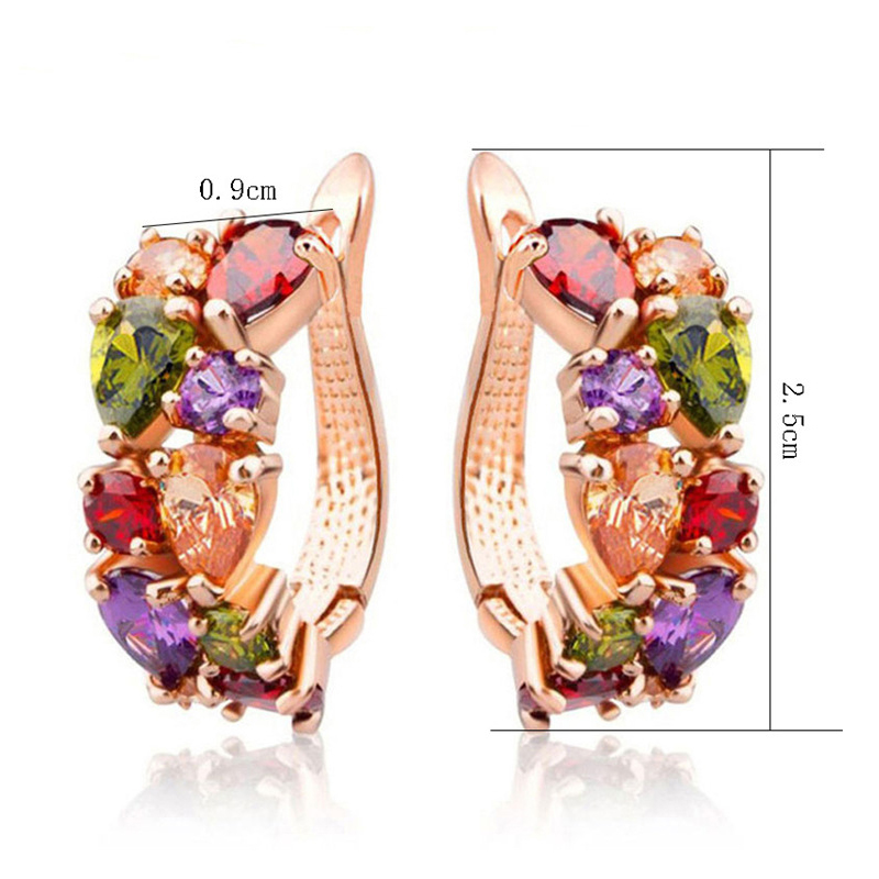 FYM Mona Lisa Luxury Rose Gold Color Multicolor Hoop Earrings For Women with Colorful Zi ...