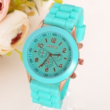 Ouriner Classic Silicone Women Watch Golden Geneva style wristwatch Silicon Rubbe casual dress Girl Fashion S001