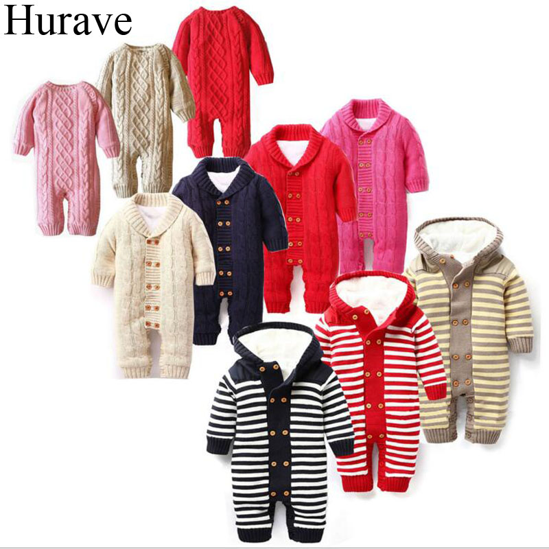 Hurave kids clothes winter Newborn boys and girls Baby Romper plus Cashmere Cotton long sleeve warm baby clothes