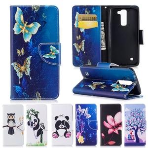 Image 1 - Case Voor Coque Lg K8 & Lg K7 Telefoon Tas Cartoon Panda Vlinder Pu Flip Leather Case Voor Lg K8 lte K350E K350N Cover Cases
