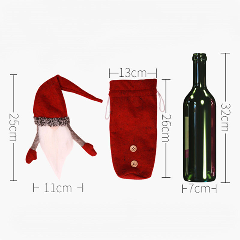 1Set Christmas Decorations For Home Cute Faceless Doll Red Wine Bottle Decor New Year Dinner Table Decor Christmas Ornaments in Pendant Drop Ornaments from Home Garden