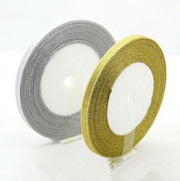 (25 ярдов/партия) 1/4 »(6 мм) Полиэстеровая Золотая и Серебряная лента Рождественская упаковочная лента высокого качества ленты с квадратным плетением