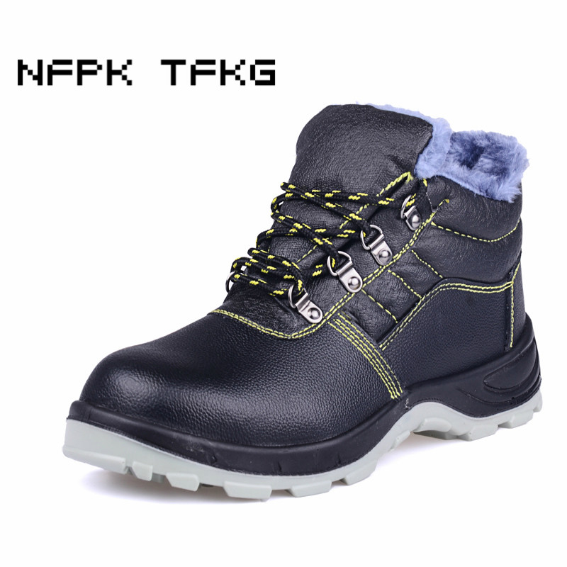 outlet store c143b 29156 large size men s fashion steel toe cap working safety winter cotton-padded  shoes warm plush fur ankle snow security boots zapato