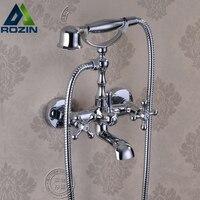 Modern Chrome Wall Mount Bathtub Tub Mixers Two Cross Handles Bathroom Bath Shower Faucet With Handshower