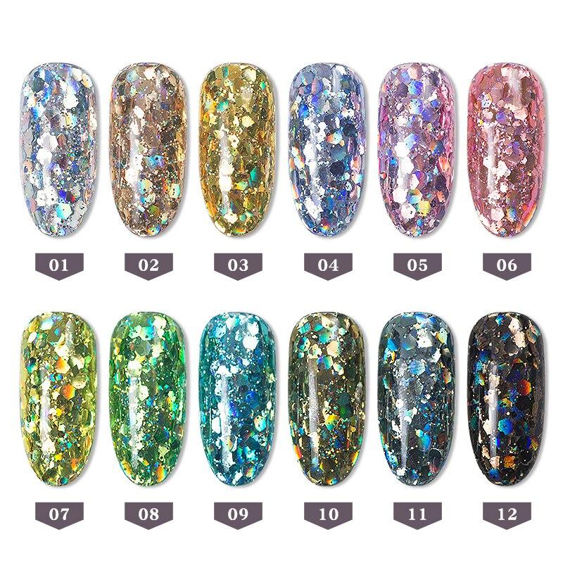 12 Box/Set Holograhic Hexagon Nail Art Glitter Lantejoulas Tamanho Mix Sereia Gradient Flocos de Pó Acrílico Dicas UV Gel Unha Polonês