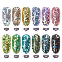 12 Box/Set Holograhic Hexagon Nail Art Glitter Sequins Mix Size Mermaid Gradient Powder Acrylic Tips UV Gel Nail Polish Flakes