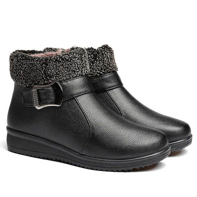 3d7e22063b1 Women Winter Snow Ankle Boots Warm Leather Female Shoes Australia Plush  Insole Waterproof Botas Mujer Zip Zapatos Mujer