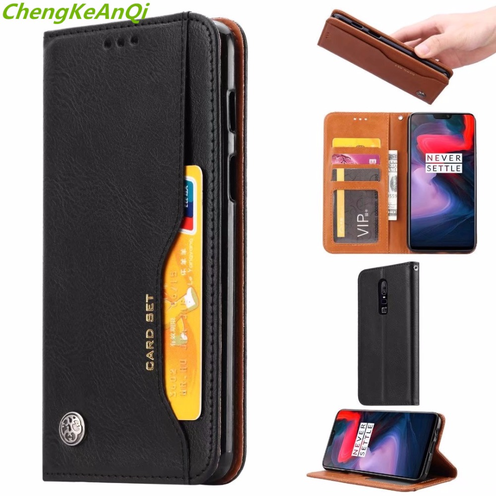 PU Leather Wallet Case For Oneplus 6 Cases Luxury Flip PU Leather Magnetic Phone Back Cover Bag Cases For Oneplus 6 1+6 case