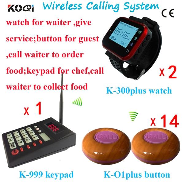 433 mhz Draadloze Pager Beller Dienst 1 Kicthen Zender 2 Serveerster Horloges 14 Bell Knop Gratis DHL Verzending