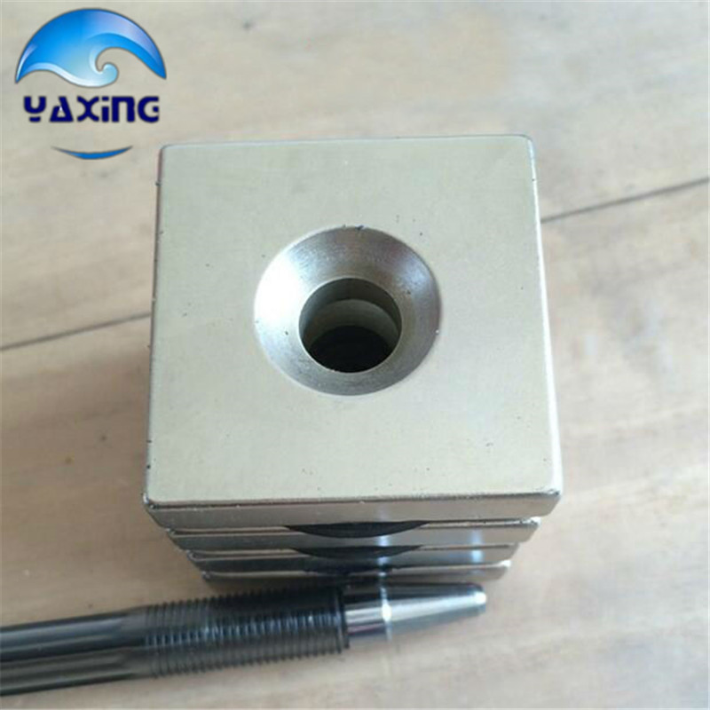 2pcs cube magnet with hole 40x40x10 - 6mm hole  Block Neodymium Rare Earth Permanent Magnet нивелир ada cube 2 360 home edition a00448