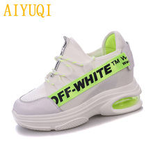 AIYUQI Women casual shoes 2019 spring new cowhide+ mesh platform sneakers women, flat breathable single women