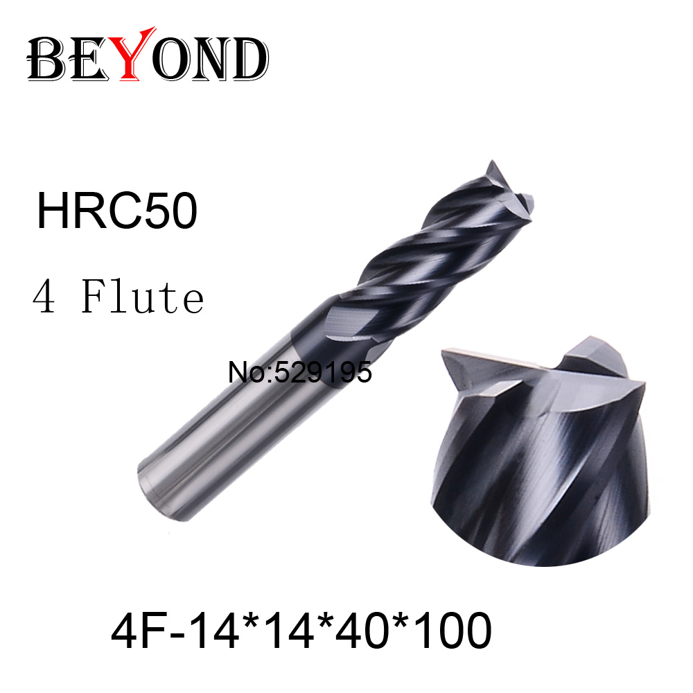 4f-14*14*40*100,material Carbide Square Flatted End Mill four 4 flute 18mm coating nano use for High-speed milling machine  цены