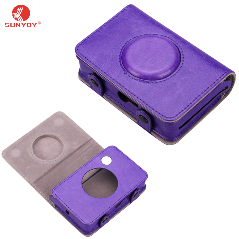 Vintage Purple PU Leather Case Bag for Polaroid Snap Touch Instant Print Digital Camera,Free Shipping