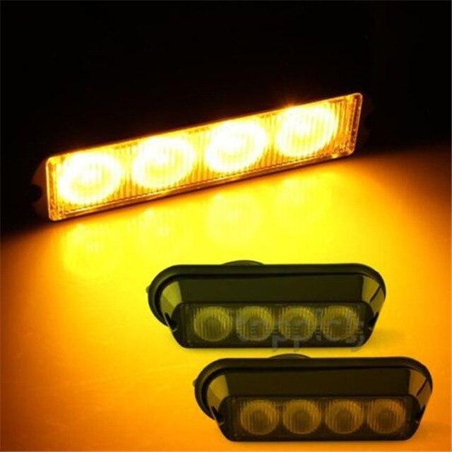 2x 4W High Power Waterproof 4 LED Car Emergency Strobe Flash Light Yellow DC12V