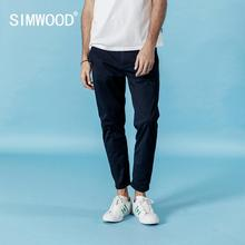 SIMWOOD 2020 spring new ankle length casual pants men elastic trousers plus size high quality brand clothing 190317