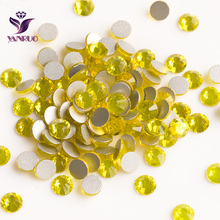 2028NoHF Citrine Color Strass All Sizes SS3,4,5,6,8,10,12,16,20,30,34 Non Hotfix Glue on Nails Crystal Rhinestones Wholesale