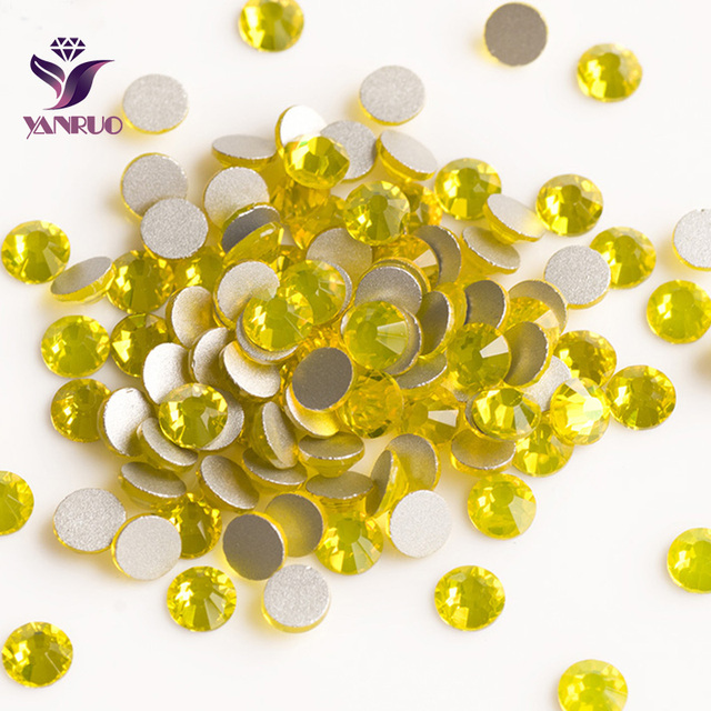 YANRUO Citrine Color Strass Non Hotfix Glue on Nails Crystal Rhinestones  Wholesale Gemstone Yellow Beads Charm Art For Clothes 17383d3dadbe