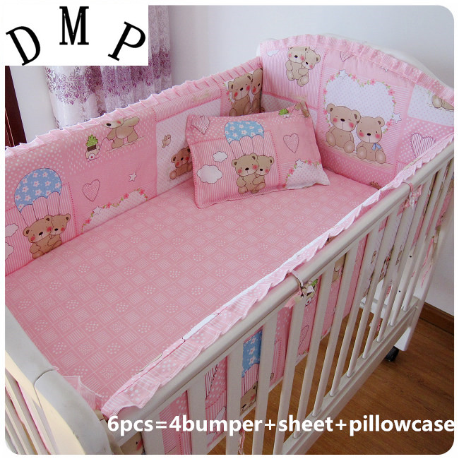 Promotion! 6pcs Pink Bear Cotton Baby Nursery Cot Crib Bedding Set Bed Linen (bumpers+sheet+pillow Cover)