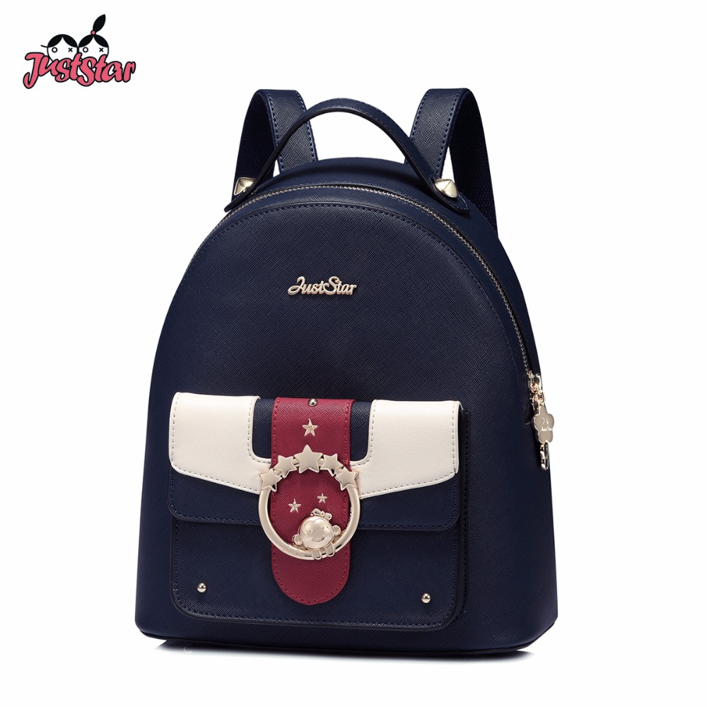 JUST STAR Women's PU Leather Backpack Female Fashion Five Star Rivet Double Shoulder Bags Ladies Panelled Monkey Travel Rucksack