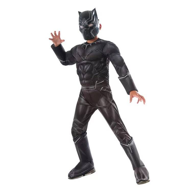 Kids Black Panther Muscle Costumes Halloween Boys Cosplay Carnival Party Jumpsuit