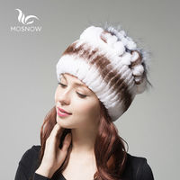 MOSNOW 2016 Rex Rabbit Fur Winter Hats For Women Vintage Flower Top Casual Solid Knitted Beanies