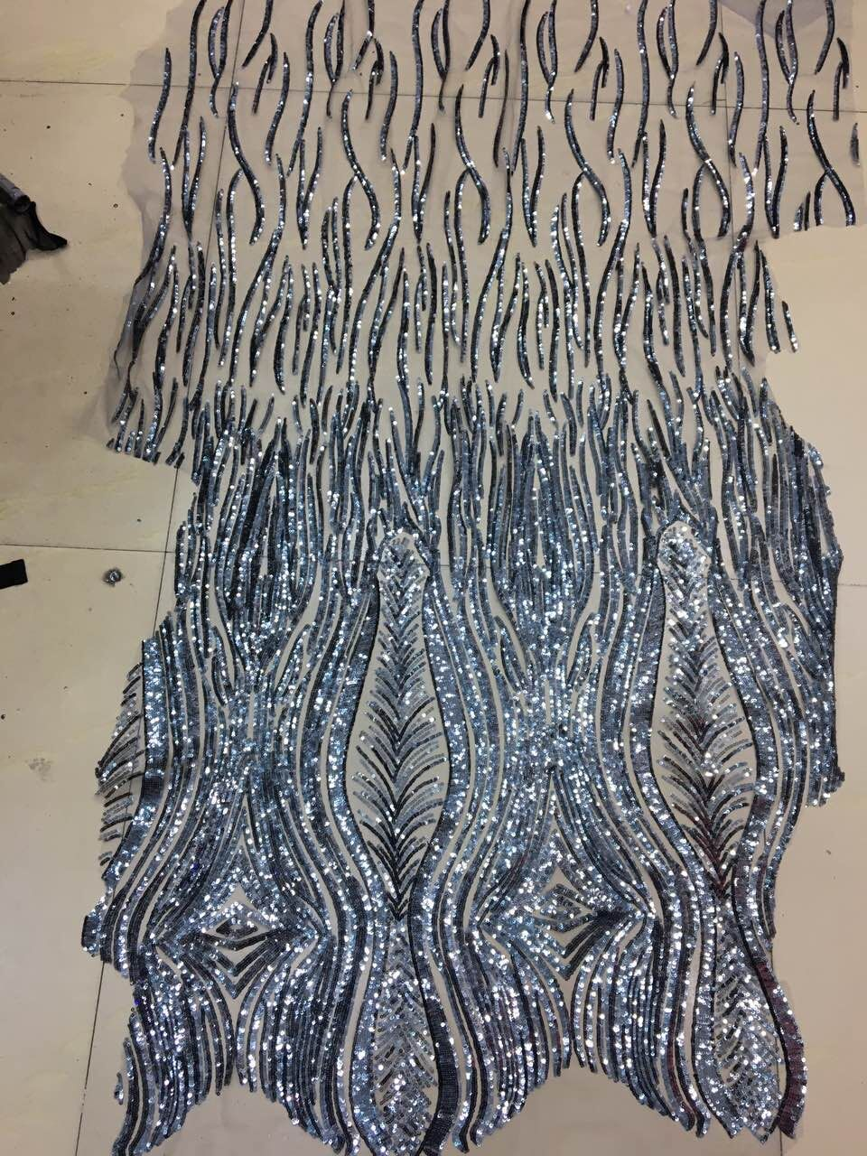 Best Selling African sequins Lace Fabric LJY 42704 Nigerian French Fabric High Quality With sequins
