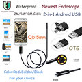 2 M 5 M 10 M 5.5 MM Lente USB Androide Boroscopio USB Mirco Android OTG USB Endoscopio Cámara Impermeable Tubo de La Serpiente PipeFor Android PC